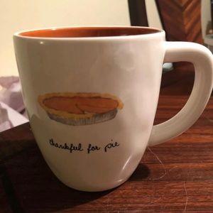 Rae Dunn Thankful for pie mug orange interior